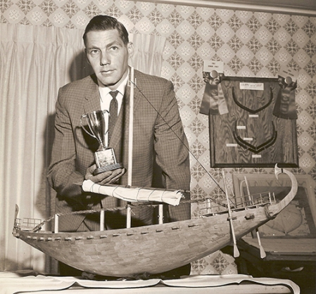 J. Richard Steffy  with the Egyptian model soon after it was completed in 1963.